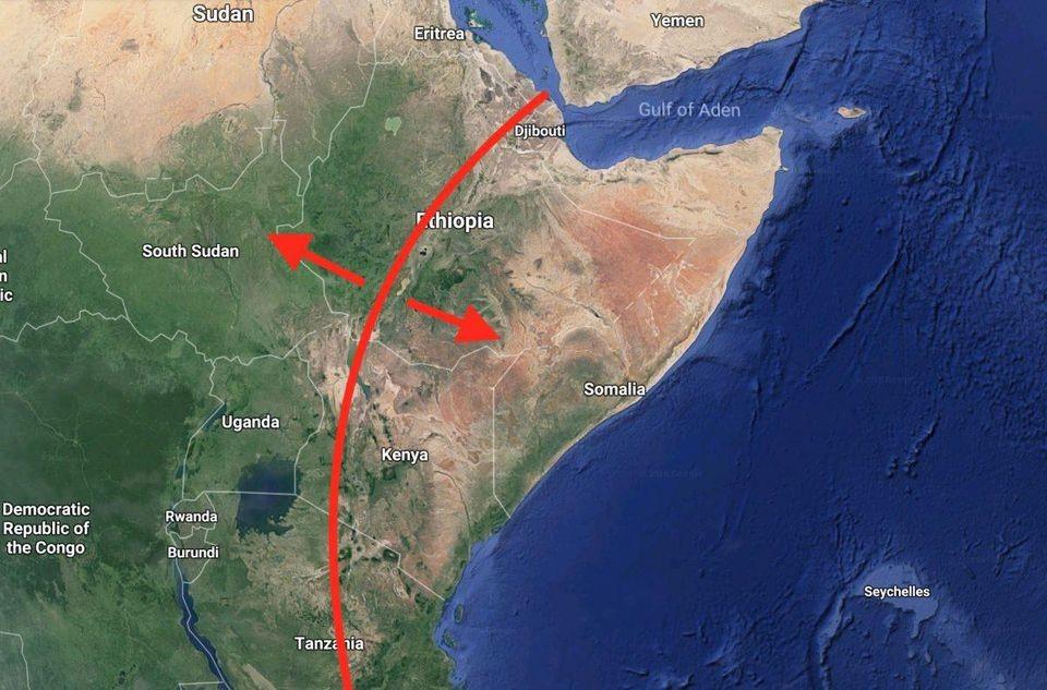 Karta Afrikas Ostkust.En Enorm Spricka Har Oppnats Upp I Afrika Kontinenten Kommer Att